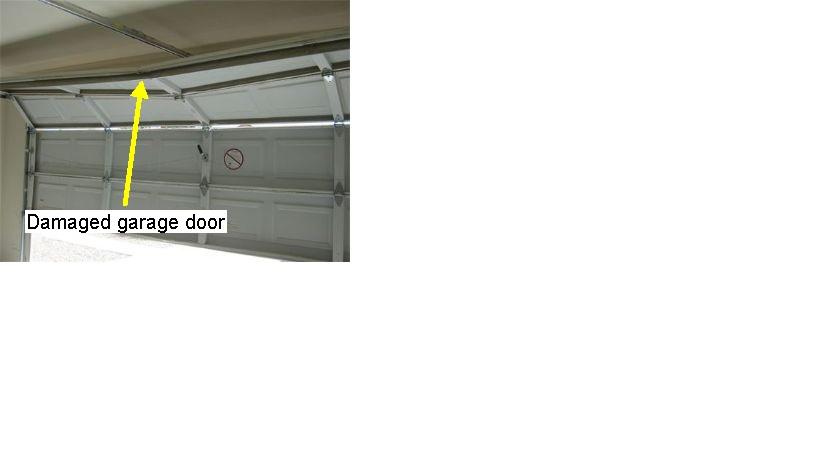 Damaged garge door