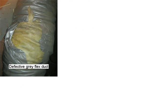 Defective grey flex duct